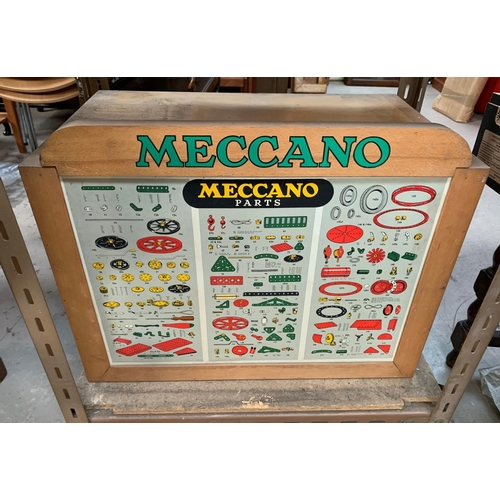 708 - A Mid 20th century Meccano light oak 6 drawer collectors cabinet with original Meccano parts card to...