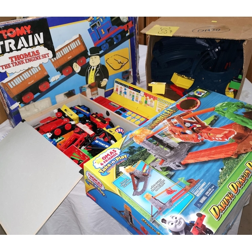 588 - A large selection of Tomy toys including Thomas the Tank Set...