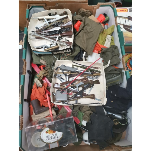 589 - A selection of Action Men (some a.f.) with a quantity of accessories and guns...