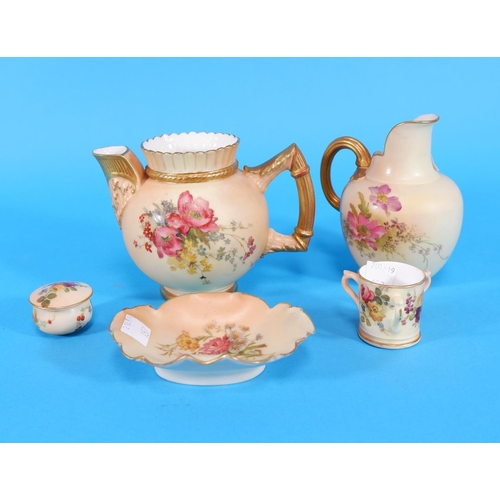 157 - Five late 19th / early 20th century Royal Worcester blush peach items: 2 jugs, a dish, a miniature t...