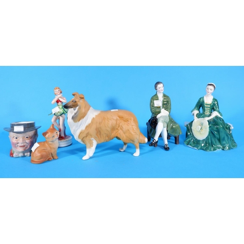162 - Two Royal Doulton figures:  Lady & Gentleman from Williamsburg, HN 223 & 2227; a Beswick collie