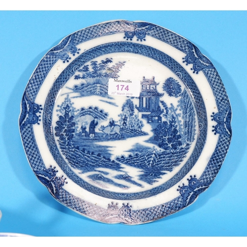 174 - An early 19th century pearlware plate with blue transfer printed depiction of an oriental figure rid...