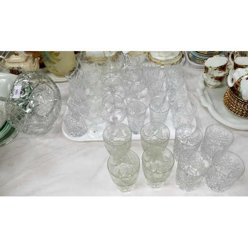 185 - A cut glass basket; a selection of cut drinking glasses...
