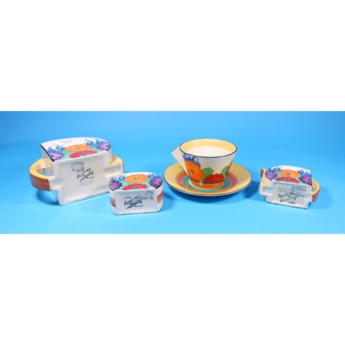 197 - A Clarice Cliff 5 piece tea set