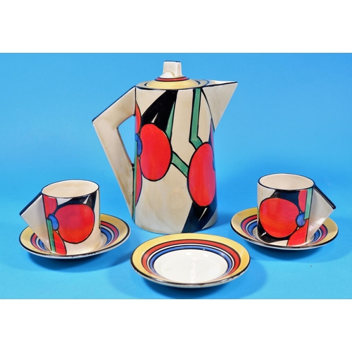 200 - A Clarice Cliff part coffee set,