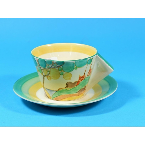 202 - A Clarice Cliff conical cup and saucer,
