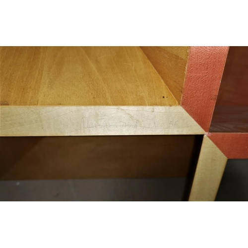 555 - A modernist design lightwood coffee table signed underneath by Martin Fraser 1984; a rustic square c...