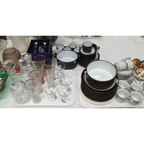 167 - A selection of Denby stoneware dinnerware; 3 cut glass decanters; other cut glass; a tea service; et...