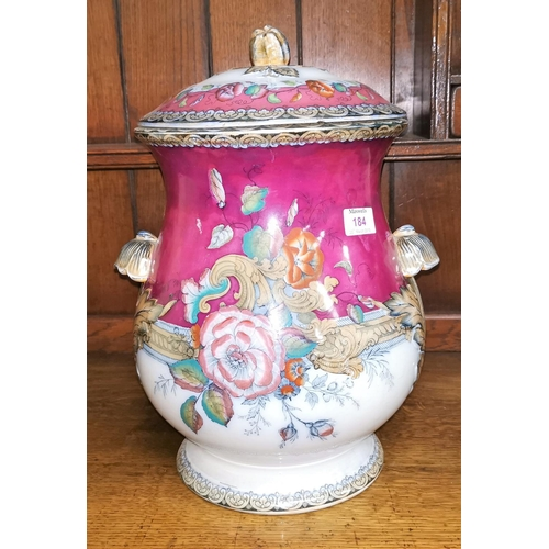 184 - A large Victorian covered cachepot with floral lustre decoration...