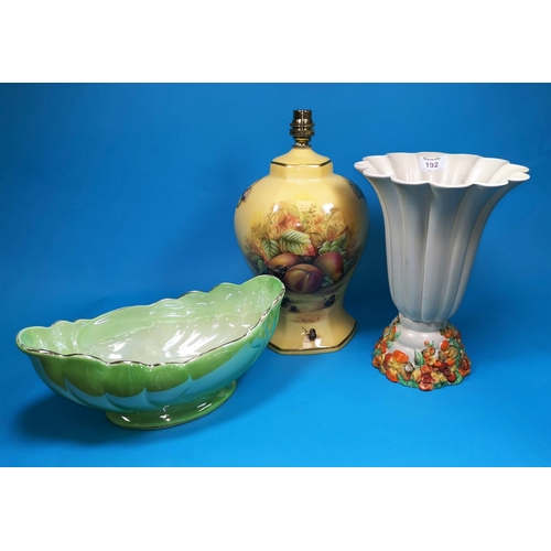 192 - A Clarice Cliff flared fluted vase; an Aynsley style table lamp; a Maling lustre bowl...