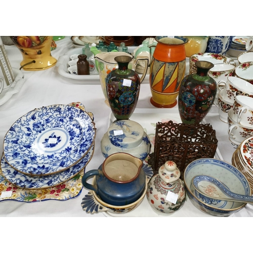 203 - A 1930's Clarice Cliff vase (a.f.); a selection of china and glass; cloisonné; silver plate; etc...