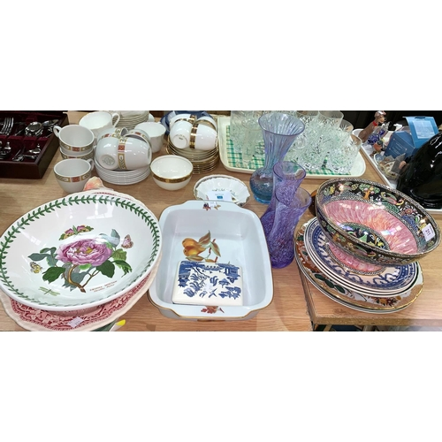 211 - A 1930's lustre bowl by Lucien Boullemier; a Royal Crown Derby plate; decorative plates and dishes...