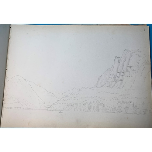 473 - USA, 19th Century School, Circle of John Englehart, an album of 35+ pencil sketches including a view...