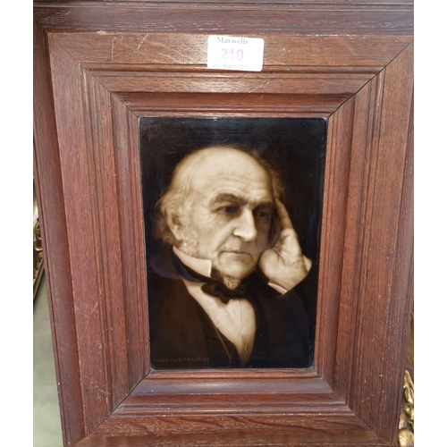 210 - A bust portrait on ceramic tile of Gladstone after Geo Cartlidge by Sherwin & Cotton...