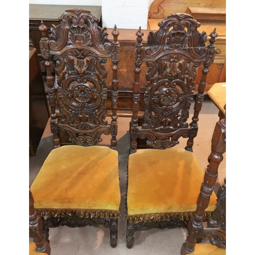 574 - A set of 5 19th century Carolean style oak dining chairs, with extensively caved high backs...
