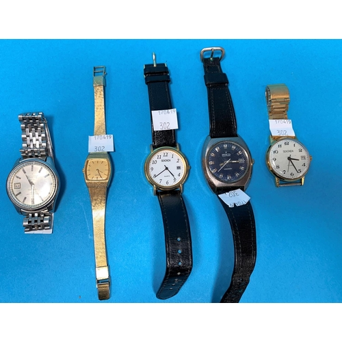 302 - A gent's Seiko wristwatch, stainless steel Sportsmatic Calendar; 5 other wristwatches...