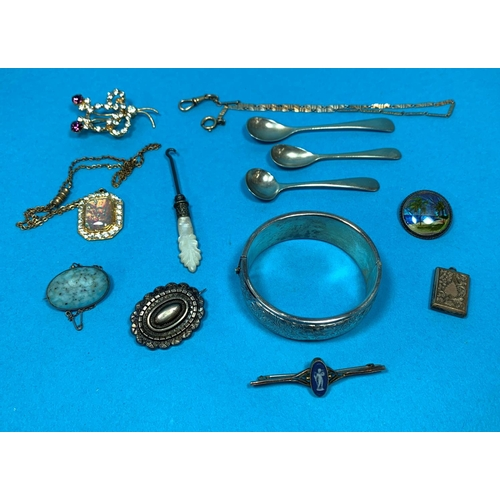 317 - A silver stiff hinged bangle; a 19th century Wedgwood tiepin; other costume jewellery; etc....