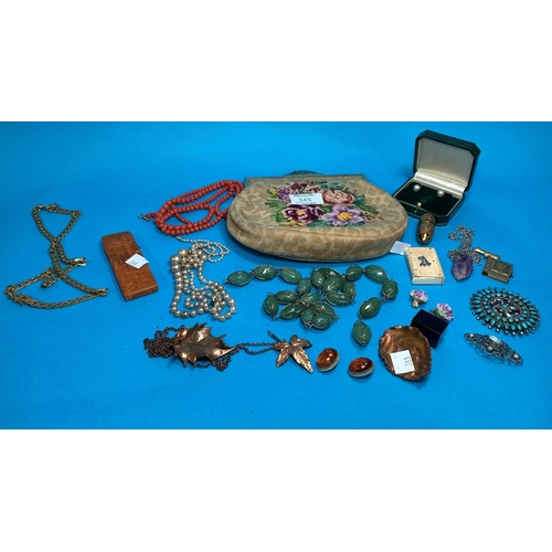 345 - A selection of costume jewellery; a needlework evening bag...