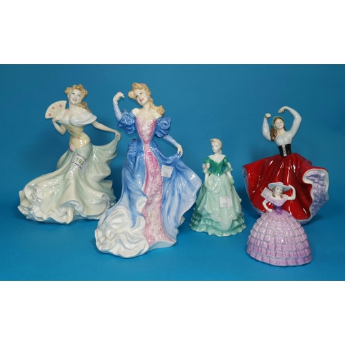 183 - Two Royal Doulton figures:  Hannah, HN 4052 & Millennium Celebration, HN 4021; 3 other figures...