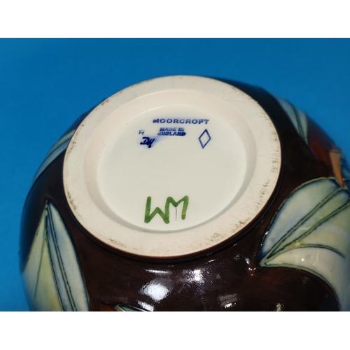 186 - A Moorcroft ceramic bowl, monogrammed to base 'WM & DH', diameter 16 cm...