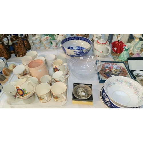 188 - A collection of Royal Commemorative china; a large blue & white fruit bowl; etc....