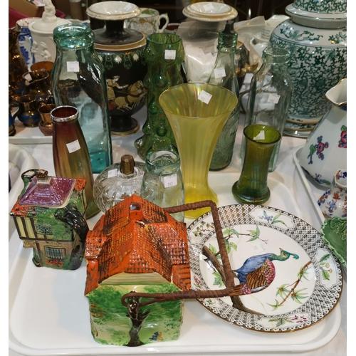 192 - An Art Nouveau lustre glass vase with hallmarked silver rim; 2 Greek style stoneware vases(a.f.); ot...