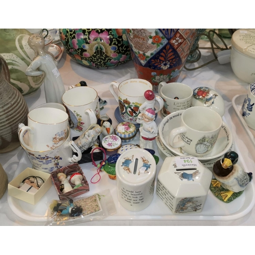 194 - A selection of Wedgwood Beatrix Potter ware; animals/figures; royal commemorative ware...
