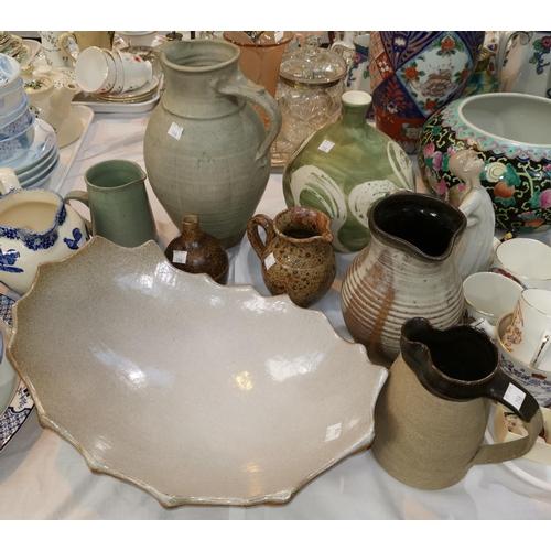198 - A large stoneware 2-handled vase; a bread mug; stoneware and studio pottery...