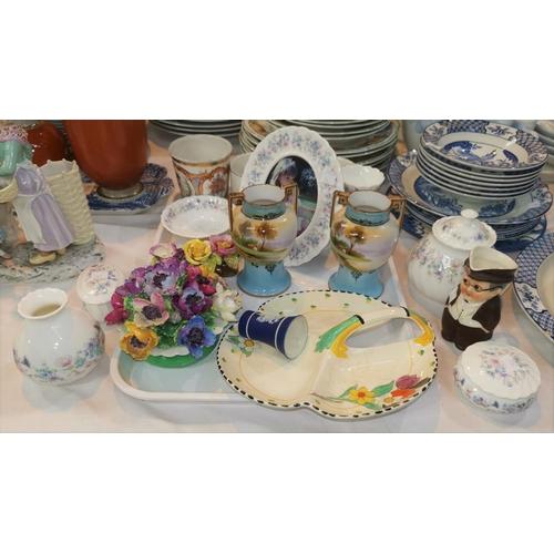 202 - A pair of Noritake vases; an Edward VII Coronation commemorative enamel beaker; a selection of decor...