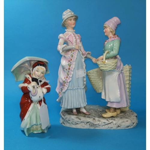 203 - A Royal Doulton figure:  Miss Muffet, HN 1936; a late 19th century continental porcelain figure grou...