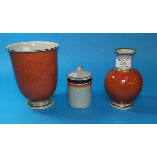 204 - A Royal Copenhagen bulbous vase with red/brown craquelure glaze, 6