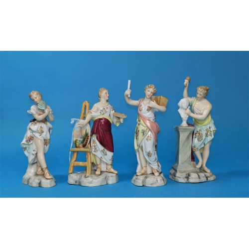 205 - A 19th century German group of Volkstedt porcelain figures representing the fine arts, 5