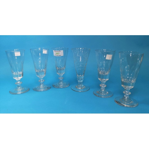 207 - A set of 5 19th century slice cut ale glasses, 14.5 cm; a similar conical glass with engraved decora...