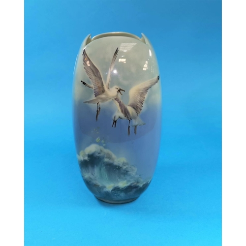 245 - A Royal Doulton Titanian Ware vase decorated with gulls rising above a stormy sea, signed H Allen, 7...