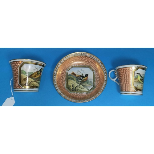 247 - A Chamberlains Worcester tea cup and saucer, and matching coffee cup, decorated with birds:  Olive B...