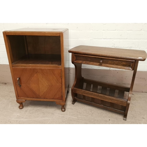 631 - A solid oak Jacobean style occasional table with single drawer and magazine rack to base; a walnut b...