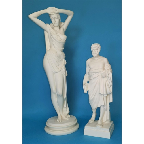 162 - A resin figure of a Greek Philosopher and another similar figure of a classical female...