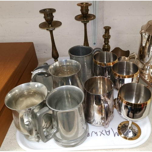 339 - A selection of silver plate, brass and pewter...