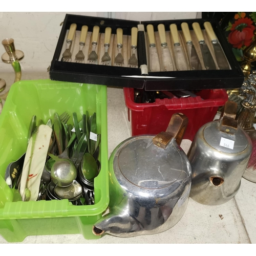 346 - A 1950's Picquot tea and coffee pot; a selection of silver plate and stainless steel cutlery; etc....