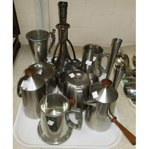 350 - A 1960's stainless steel triple specimen vase by Robert Welsh; a similar pair of coffee pots; a WMF ...