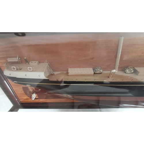 500 - A 19th Century large half block ship, the SS F.W.Harris, in cresent glass display case. The SS F.W.H...
