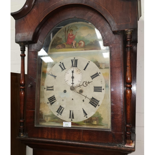 586 - A 19th century grandfather clock in oak case, with 8 day movement and painted dial...