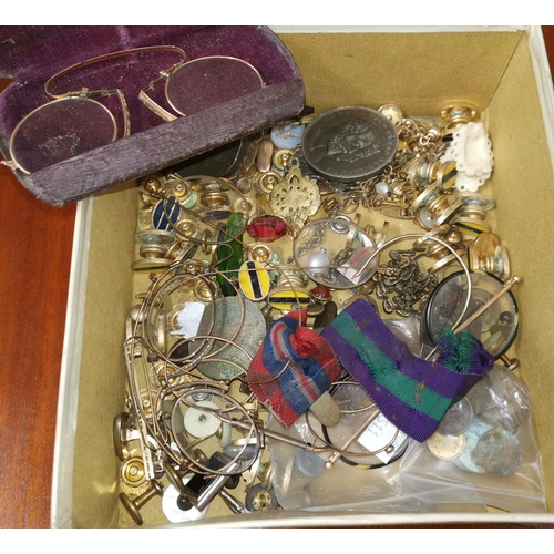 511 - A pair of 19th century pince nez, cased; other early spectacles; a quantity of studs; etc....
