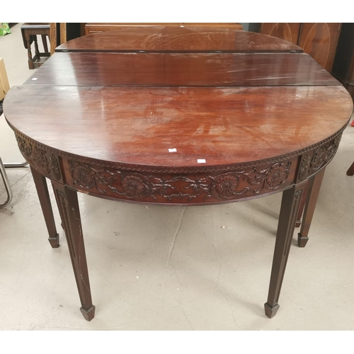 627 - Two late 19th century mahogany Adam style demi-lune side tables with floral decoration, having later...