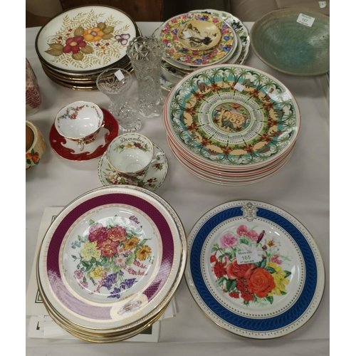 165 - A large selection of limited edition china plates, including Wedgwood; other decorative china...