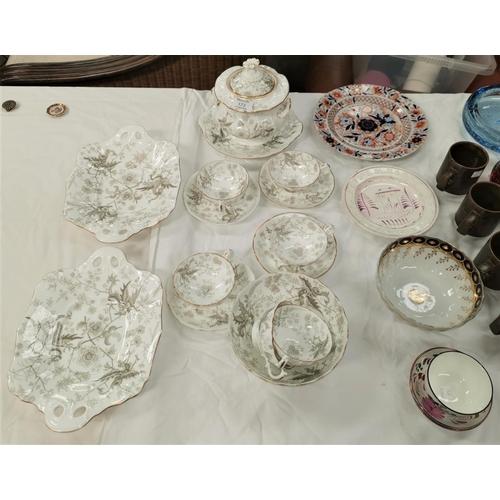 173 - A 19th century pink lustre alphabet plate; a tea bowl; a part tea set and a selection of similar per...