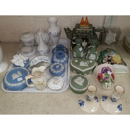 178 - A selection of Wedgwood Jasperware, Aynsley and other trinket ware; a novelty teapot; a Mason's wall...