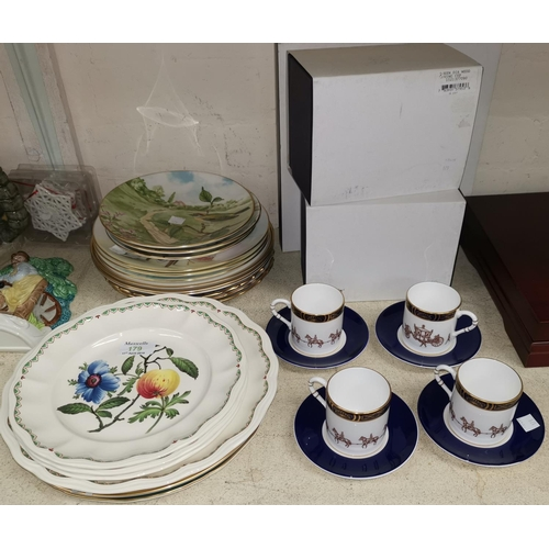 179 - Two Royal Worcester QEII Diamond Jubilee loving cups in original boxes; a Spode millennium plate; 4 ...