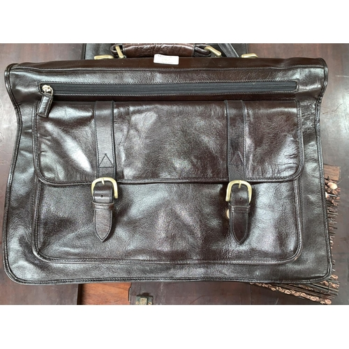 392 - 3 bags, 2 leather one a shell handbag, the others large briefcases/ overnight bags, one by H a selec...