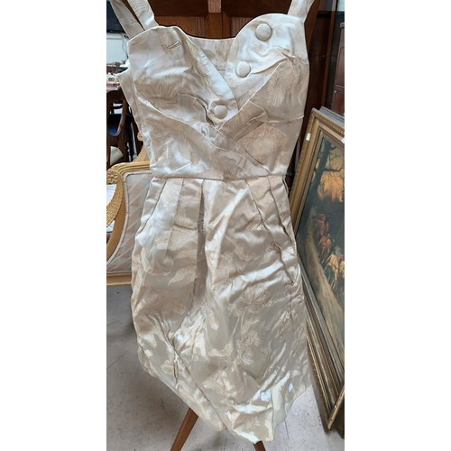 432 - A vintage wedding dress and accessories; other costume; leather bag; etc....